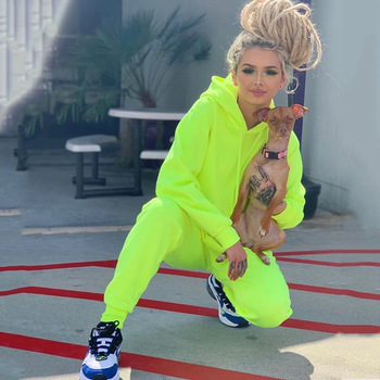 Женский однотонный спортивный костюм OMSJ, неоново-зеленый комплект из 2 предметов, повседневный комплект со штанами и длинными рукавами, уличная одежда, 2019