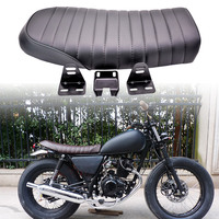 KaTur Universal Black Motorcycle Cafe Racer Seat Flat Vintage Seat Cushion Saddle for Honda CB125S CB550 CL350 450 CB CL Retro