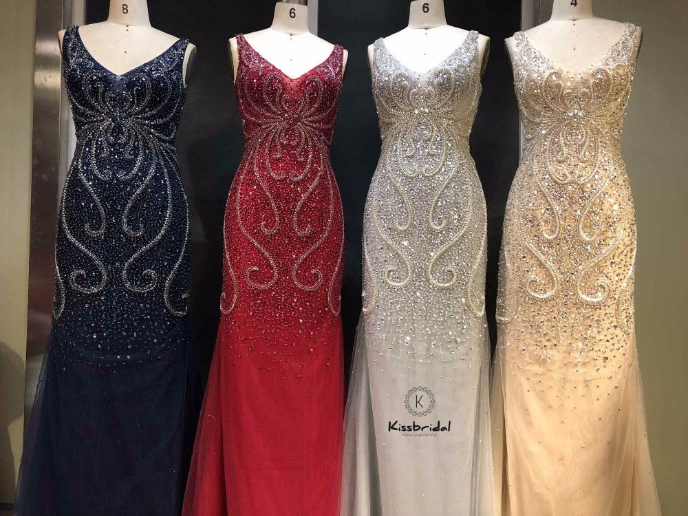 Новое красивое темно синее вечернее платье, длинное платье, платье для выпускного вечера из тюля с бусинами, 2019
