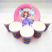 20p/set Sofia Princess Birthday Party Supplies Plates Cup Disposable Tableware Favor Decoration Cake Dishes