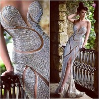 Luxury Beaded Silver Gold Mermaid Evening Dresses Long 2019 High Slit Party Evening Gowns For Women Vestidos De Festa Longo