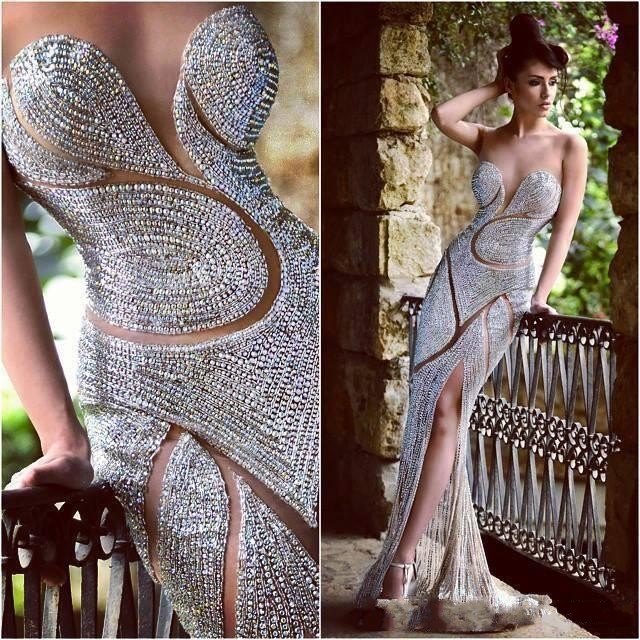 Luxury Heavy Beaded Mermaid Prom Dresses 2019 High Slit Party Dresses Sexy Sheer Back Shinny Evening Dress Vestido De Festa