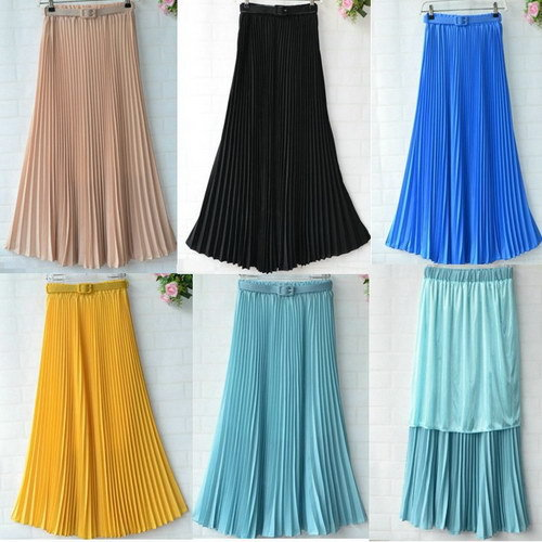 blue/black/yellow/khaki pleated fashion skirts plain colours long maxi women - TOPFEEDIT LTD store