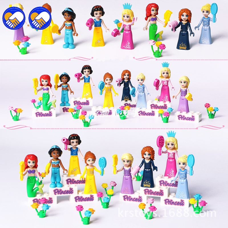8pcs Fairy Tale Princess Compatible Legoinglys Friends Girl Model Building Kits Doll Figures Bricks Blocks Toys Kids Gifts