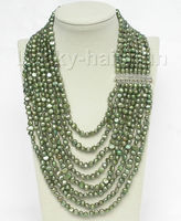 Free Shipping>> new hot 17 24 8row baroque green pearls necklace 925 silver clasp j8758