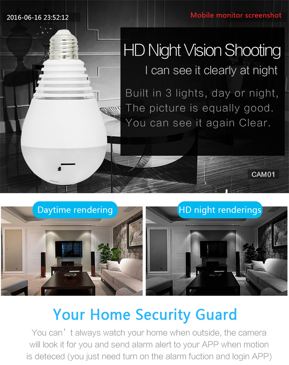 Wistino 960P Wireless VR Panoramic IP Camera Bulb Light Wifi FishEye 360 degree CCTV Surveillance Security Monitor Comone 1 (6)
