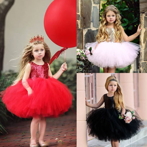 Fashion Kids Baby Girls Sequins Dress Bridesmaid Party Princess Dresses Backless Cute Tulle Sundress
