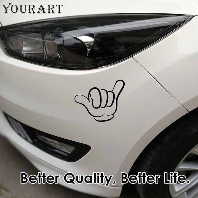Yourart waterproof vinyl car sticker surf stickers car funny hands shaka hang loose decal for seat