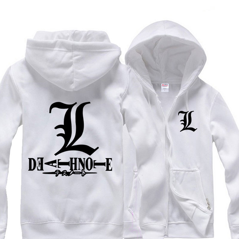 Anime Note Cordón L Hoodies Jersey Casual Lawliet Escudo white Tops Con Capucha Fleece Black Death Moda Hombre gray Cremallera xRqXYnt