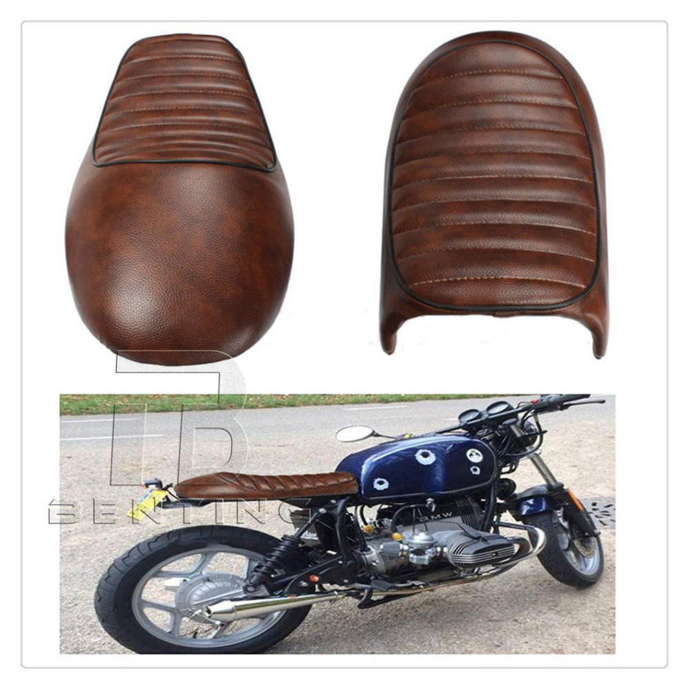 Brown Motorcycle Vintage Cafe Racer Hump Saddle Seat For Honda CB Suzuki GS Yamaha XJ