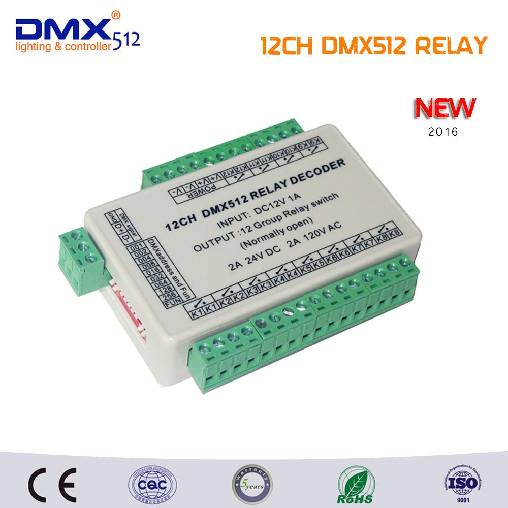 Free Shipping 12ch Relay Switch Dmx512 Signal Controlleronly Use Schematic Normally Open The Control Cant Power In Rgb Controlers From Lights Lighting On