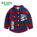 Fashion Plaid Shirts Boy Girls Shirt Turn-Down Collar Toddler Blouses Long Sleeve Red Baby Shirt For Kids Clothes Boys Blouse