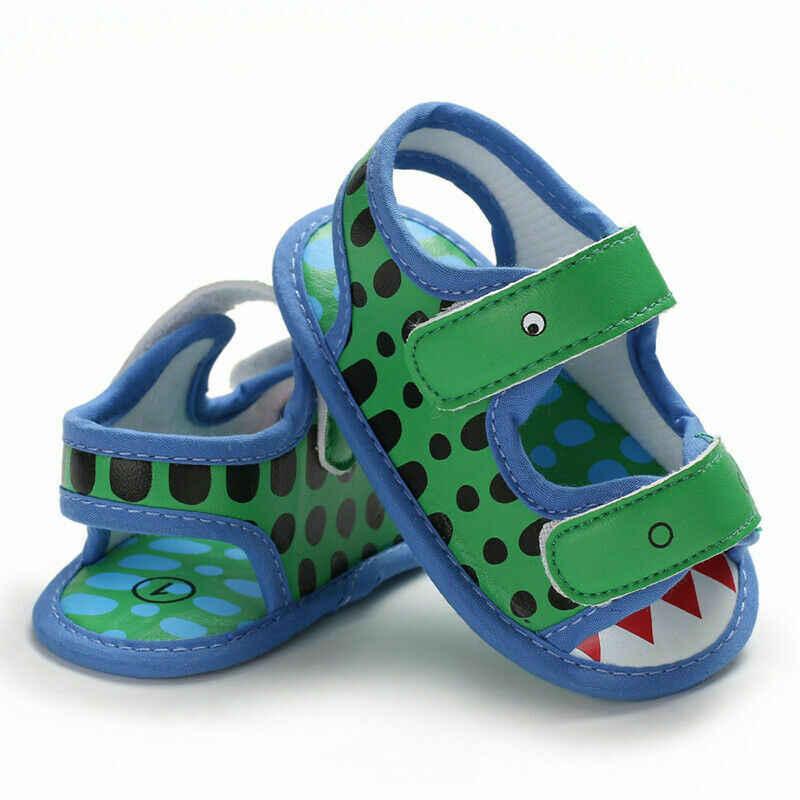 1 Pairs Infant Newborn Baby Boys Cartoon Dinosaur Sandals Soft Sole Crib Shoes Anti-slip Prewalker Moccasins Casual 0-18M