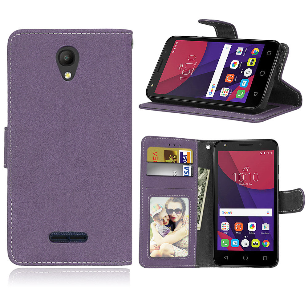Retro Matte Leather <font><b>Case</b></font> <font><b>For</b></font> <font><b>Alcatel</b></font> OneTouch <font><b>POP</b></font> <font><b>4</b></font> 5.0 <font><b>5051D</b></font> Cover Filp Stand Classical Wallet Photo frame Card slot Phone Bags image