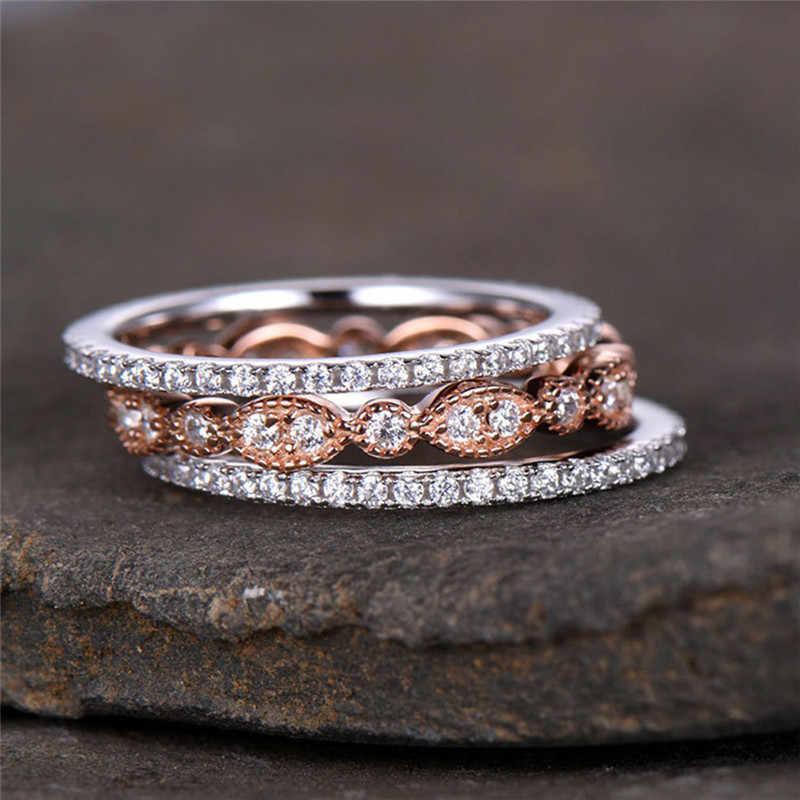 ROMAD 3 ชิ้น/เซ็ต Dainty แหวนชุดสำหรับสตรี Rose Gold Filled แหวนเจ้าสาวแต่งงานวง PROMISE แหวนหมั้นสำหรับผู้หญิง R4
