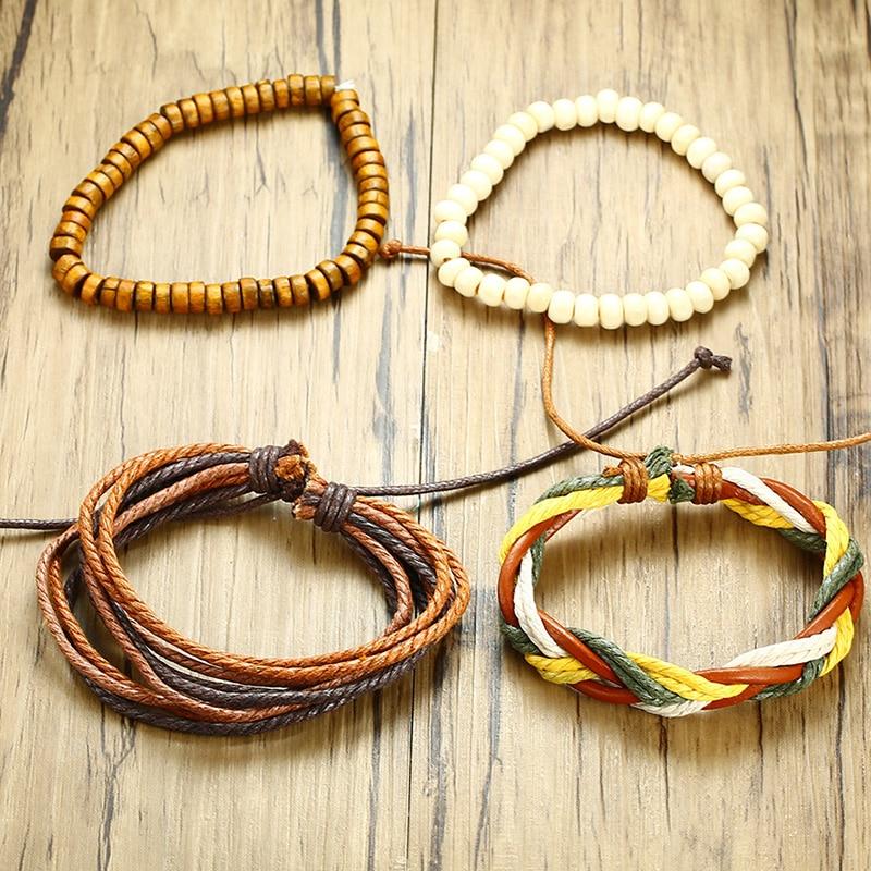 Meaeguet 3pcs Set Punk Street Pu Leather Charm Bracelet Ring Men Elastic Wood Beads Bangles Wax Rope Wristband Male Jewelry (9)