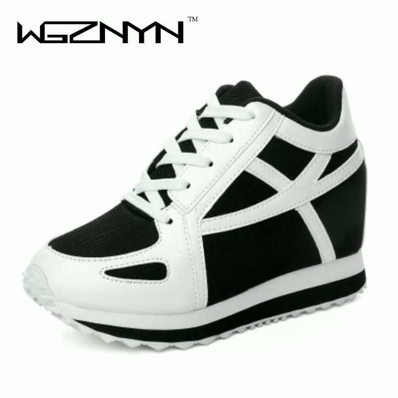 WGZNYN New Hidden Heels Platform Wedge Sneakers Women Shoes White Tenis Feminino Casual Krasovki Basket Femme Shoes Woman W006