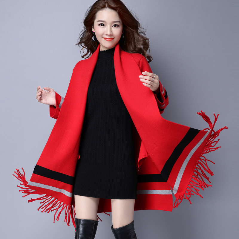Winter Cashmere Sweater Women Cardigan Casual Tassel Long Cardigan With Pocket femme 2017 Knitted Ponchos And Capes 1215-120