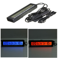 Car Voltage Meter 12 24V Auto 3 In1 Digital LCD Clock In Out Temperature Display Thermometer