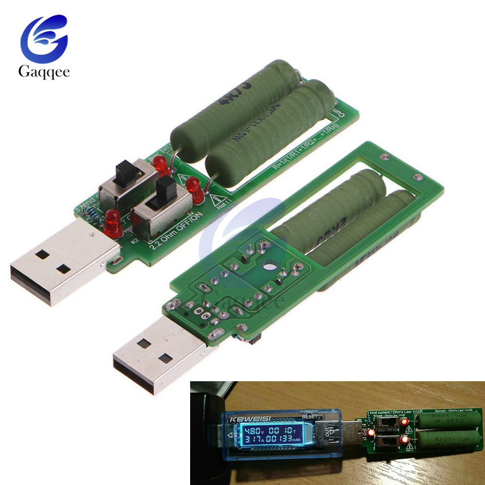 USB resistor dc electronic load With switch adjustable current 5V 1A/2A/3A battery capacity voltage discharge resistance tester