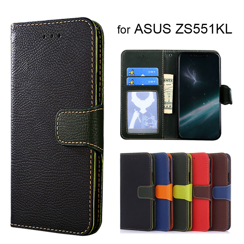 Wallet case for ASUS Zenfone 4 Pro ZS551KL Litchi pattern PU leather with inside soft TPU cover coque Hit color