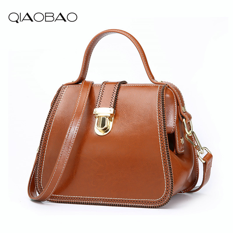 QIAOBAO 2018 Newest Design Europe and American Style Genuine Leather Women Messenger Bag/ Fashion Cowhide Leather Doctor Bag qiaobao women general genuine leather handbags tide europe fashion first layer of cowhide women bag hand diagonal cross package