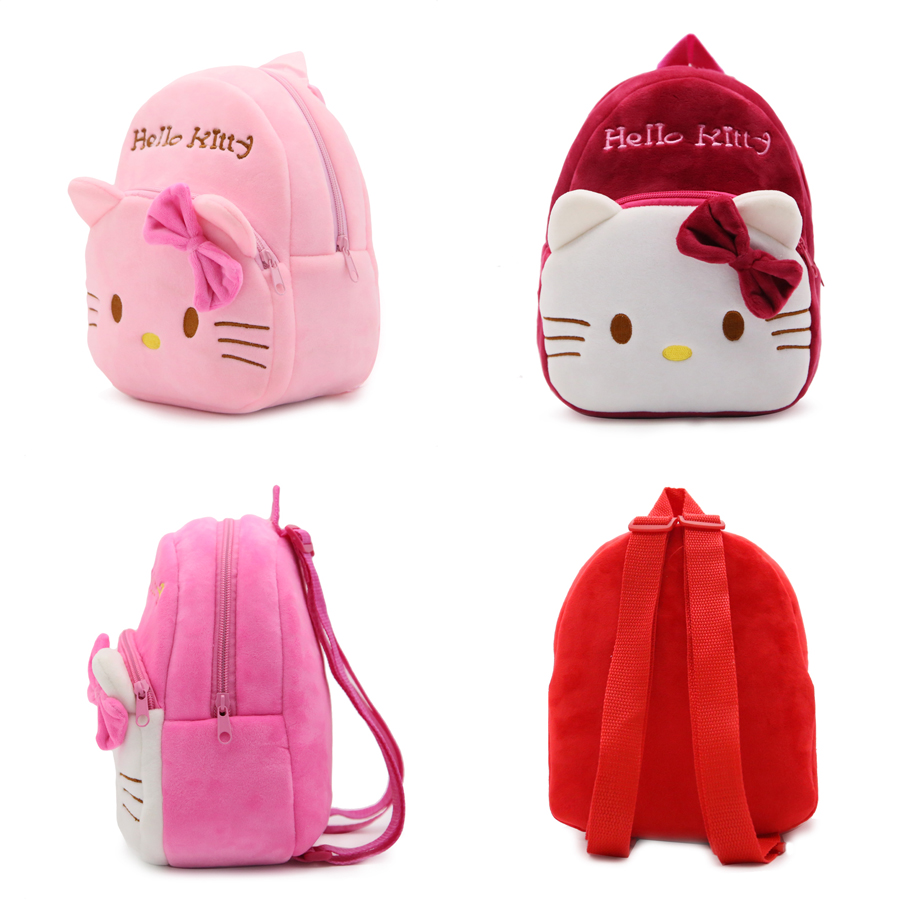 1-3 Years Baby Plush Backpack Cute Cartoon Pink Rose Wine Red Hello Kitty Cat Plush Bag Soft Toy Children's School Bag hello wine page 8