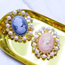 Freshwater Pearls and Zircon Inlaid Brooch
