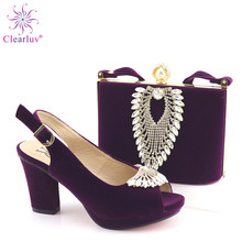 Sapatos de cor roxa africanos com sacos de correspondência conjunto de sapatos e sacos de festa femininos nigerianos conjuntos de chinelos e bolsa alta
