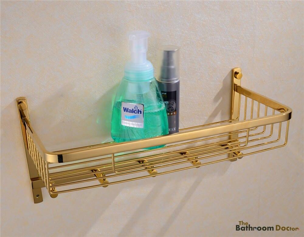 ФОТО Stainless Steel PVD-Ti Gold Shower Shelf Caddy Wall Basket Storage &Robe Hook  09-164