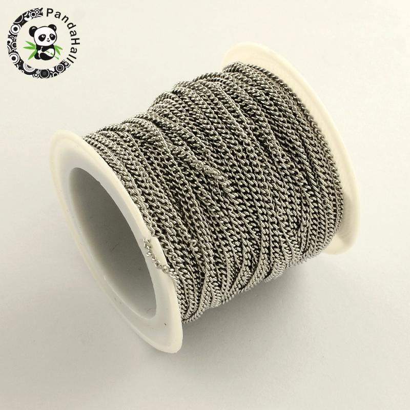 304 Stainless Steel Curb Chains, Unwelded, Stainless Steel Color, 2.4x1.9x0.5mm; About 10m/roll