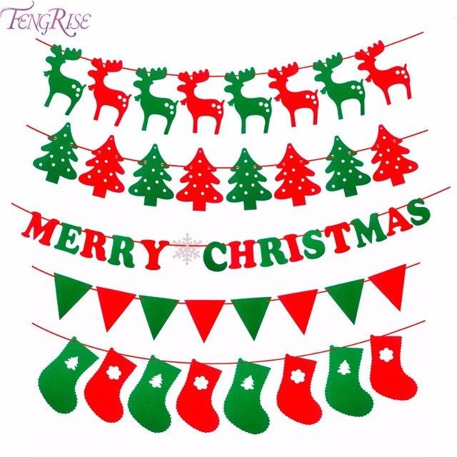 FENGRISE Frohe Weihnachten Banner Rentier Socken Weihnachten Baum ...