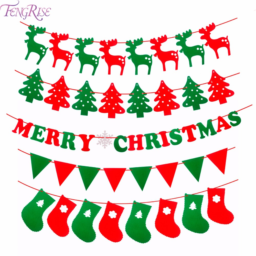 Fengrise merry christmas banner reindeer socks xmas tree for New xmas decorations