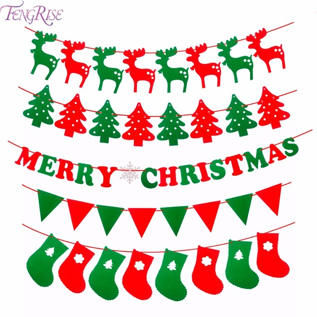 fengrise merry christmas banner reindeer socks xmas tree flags happy new year 2018 christmas decorations photo - Merry Christmas Decorations