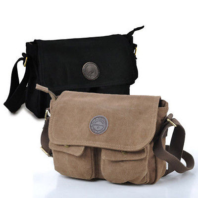 Men's Vintage Canvas Leather Satchel School Bag Military Shoulder ...