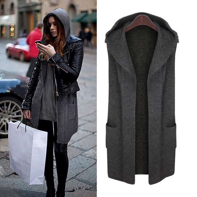 296f190ad11 Plus Size Solid Pocket Women Long Hooded Sleeveless Coat Cardigans Autumn  Winter Soft Sweaters Knitting Outerwear Casual Coats