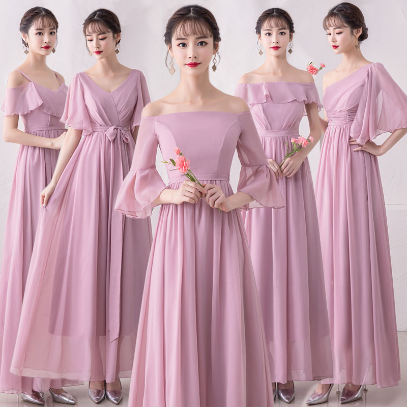 Mingli Tengda Sukienki Damskie Na Wesele Grey Long   Bridesmaid     Dress   3/4 sleeves Bean Paste Boat Neck Banquet Sister   Dresses   New