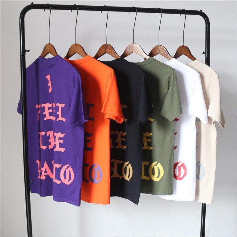 Pablo Kanye West concierto nueva York londres Los ángeles me siento como Paul blanco negro camello verde del ejército naranja púrpura Camiseta de algodón