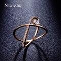 Newbark x cruz anéis pavimentadas minimalista one big 4 prong cubic zirconia com arredondamento equador cercado anel feminino