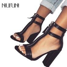 68b67da7c6a Sandalias de tacón alto Sexy negro zapatos de punta abierta de piel de  serpiente correa de tobillo bloque tacones sandalias esti.