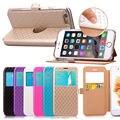 "Moda ver janela leather flip stand case para apple iphone6 iphone 6 s plus 5.5 ""cubra com titular para iphone 6 s plus"