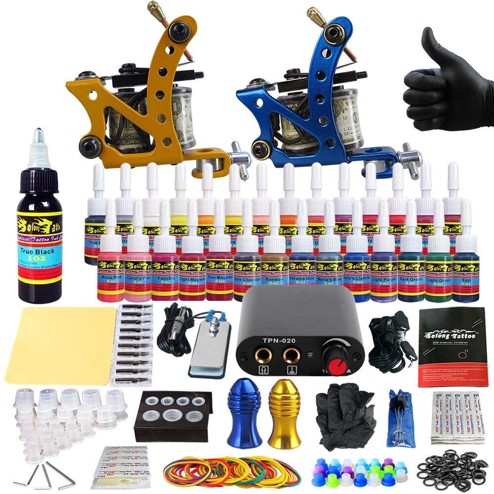 Solong Tattoo Complete Tattoo Kit for Beginner Starter 2 Pro Machine Guns 28 Inks Power Supply Needle Grips Tips TK204-37 solong tattoo complete tattoo kit 2 pro machine guns 54 inks power supply foot pedal needles grips tips tk244