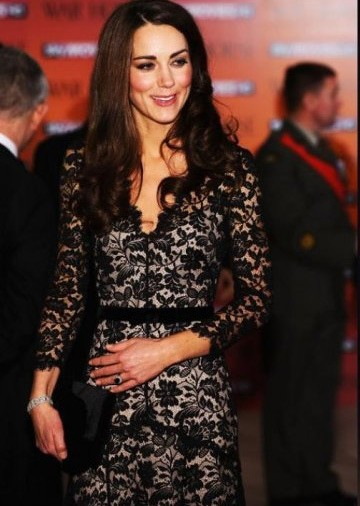 Vestido kate middleton preto renda