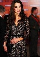 Larga de encaje de estilo europeo vestido de renda sexy Con Cuello En V negro vestidos de Kate Middleton Princesa Kate Vestidos de Primavera 2015