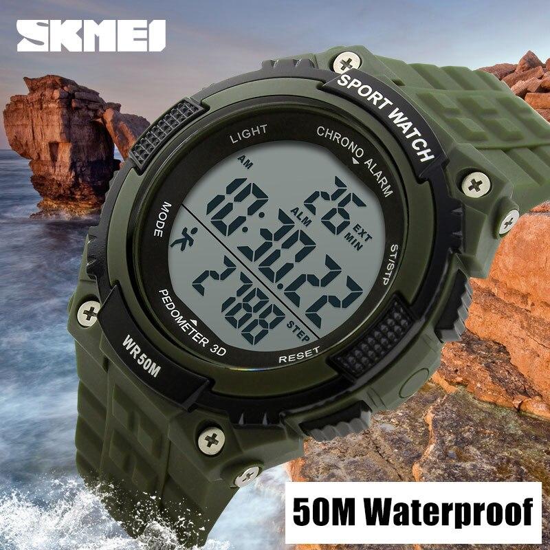 Digital Watch Pedometer Chronograph Role Skmei Men Outdoor Waterproof Relogio New 1112