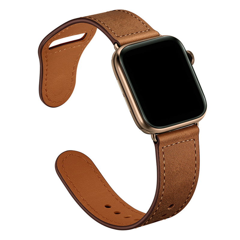 Retro Leather Band Watches Men Genuine For Apple Watch Band 44mm 40mm For Apple WatchBands 42mm 38mm Series 4 3 2 1 Watch Strap