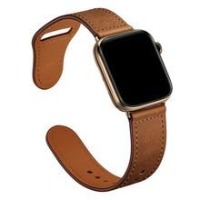 Retro skórzany pasek zegarki męskie oryginalne dla Apple Watch band 44mm 40mm dla Apple od zegarków 42mm 38mm seria 4 3 2 1 pasek zegarka