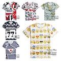 Высокое качество большие мальчики 3d творческой личности печатный футболка с коротким рукавом шею мальчик одежды футболку 14-20 лет старый