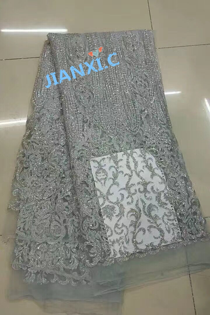 5yard lot silver african glitter lace fabric JIANXI C 72301 embroidered tulle lace with glued glitter