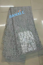 5yard/lot silver african glitter lace fabric JIANXI.C 72301 embroidered tulle lace with glued glitter for party dress